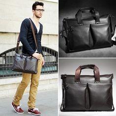 Men's Genuine Leather Handbag Messenger Shoulder Briefcase Laptop BAG Business