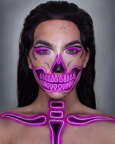 Scary and glam skeleton makeup for women to rock the Halloween. Scary and glam skeleton makeup for women to rock the Halloween. Sfx Makeup, Costume Makeup, Makeup Art, Makeup Ideas, Movie Makeup, Makeup Brushes, Body Makeup, Skull Face Makeup, Fairy Makeup
