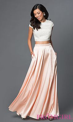 Pearl Detail Long Satin Cap Sleeve Prom Dress at PromGirl.com