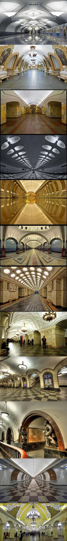 Wow! Why can't the U.S. put this much effort in making out country beautiful! These are Moscow metro stations, a public service building, and they look fantastic!