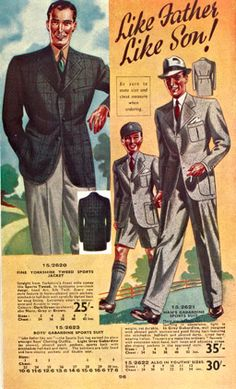 "The corner ad maybe from the 1940s but the look is timeless, even for today.  Okay!  The big shoulders may not be as timeless.  I think we now refer to this look as ""business casual.""  Regardless of what it is called, the dark blazer, the light colored pants, the patterned shirt with a matching tie would look good for any decade."