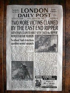 Discover the ellusoive killer monger, the first ever serial killer Jack the ripper Newspaper Headlines, Old Newspaper, Victorian London, Victorian Era, Jack Ripper, Police News, Horse Exercises, Ripper Street, Halloween Jack