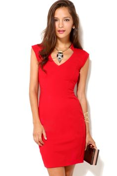 Cap Sleeve V Neck Dress