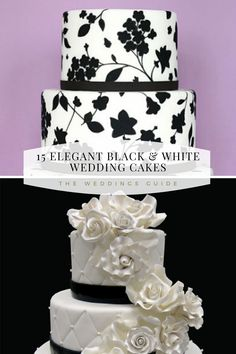 Elegant Black and White Wedding Cakes #blackwhitecake Black White Cakes, Black And White Wedding Cake, White Wedding Cakes, Pretty Wedding Cakes, Amazing Wedding Cakes, Wedding Cake Rustic, Elegant, Nice, Wedding Ideas