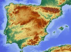 Iberian Peninsula topographic map
