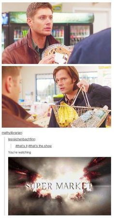 It may say Supernatural on the front but really it's Dean mourning cause he can't have pie. Supernatural Bloopers, Supernatural Tattoo, Supernatural Wallpaper, Supernatural Quotes, Supernatural Fandom, Spn Memes, Supernatural Angels, Sherlock Quotes, Mark Sheppard