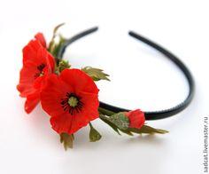 Ободок с красными маками из полимерной глины - полевые цветы,летнее украшение