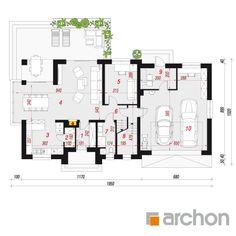projekt Dom w śliwach rzut parteru House Design Photos, Design Case, Floor Plans, G 5, Diagram, Type