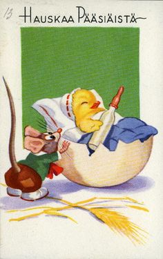 Hauskaa pääsiäistä #pääsiäinen #easter #kortit #cards #tiput #hiiret #munankuoret