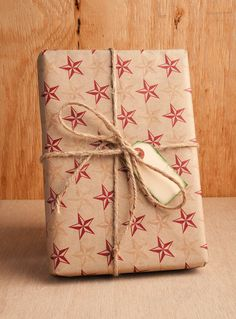 Rustic Star Wrapping Paper - Red