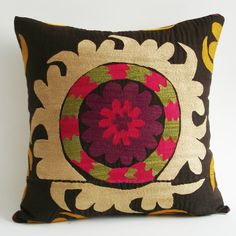 Sukan / Vintage Hand Embroidered Silk Suzani Pillow Cover - 16x16 inch - Egg Yellow Purple Pink Beige Green Dirty Black
