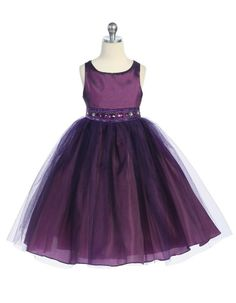 Beautifully Accented Tulle Plum Flower Girl Dress - Mega Sale