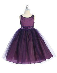 Beautifully Accented Tulle Plum Flower Girl Dress - Mega Sale