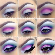 Baby Blue and Purple Eyeshadow with Black Winged Eyeliner. - Baby Blue and Purple Eyeshadow with Black Winged Eyeliner. Baby Blue and Purple Eyeshadow with Black Winged Eyeliner. Makeup Eye Looks, Pretty Makeup, Love Makeup, Makeup Inspo, Makeup Inspiration, Gorgeous Makeup, Makeup Ideas, Creative Eye Makeup, Colorful Eye Makeup