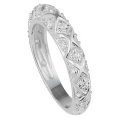 1 1/4 CT. T.W. Round-Cut CZ Pave Set Intricate Band in Sterling Silver - Silver, 8, Women's, Size: 5