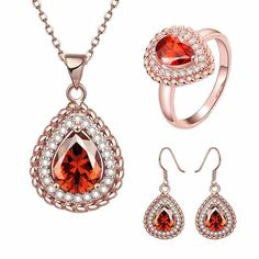 S047-B Fashion 18K environmental alloy anti allergy zircon jewelry set
