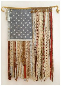 I must do this!!! 4th of July #DIY flag with lace and ribbon
