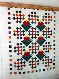 Summer Sale 10 Off Batik Lap Quilt Heart Blossoms by QuiltLover