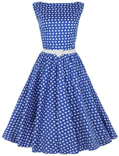 vintage womens dresses 1950's   ... Polka Dot Dresses >> Blue Vintage 1950's Pinup Polka Dot Swing Dress
