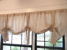 Osnaburg Window Valance, 66 W x 24 L, with Bows, The Cottage Charmer 2 by Jackie Dix. $65.00, via Etsy.