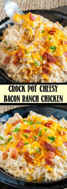 Crock Pot Cheesy Bacon Ranch Chicken is one of the easiest and most delicious chicken recipes ever! Wondering what to make for dinner tonight? This is it!