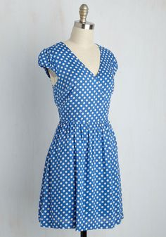 Let It Roller Skate Dress in Blue. After lacing up your rented rides and performing a figure-eight in this blue, dotted dress, youre ready for your retro date night! #blue #modcloth