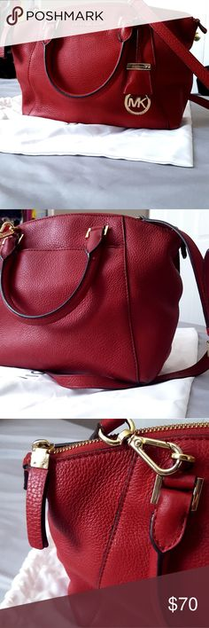 """⚘Stunning⚘Michael Kors Riley Satchel in Cherry This purse vamps up any outfit. Its gold accents are great for those who like more glam.  Because of its simple, slouchy shape, it pairs well for day or evening outfits! Price is firm.   Details 2 interior slip pockets 1 zip pocket Single shoulder strap: 37"""" Material: Pebble leather Top zipper closure: approx. 13.5 x 9 x 5"""" 4"""" drop straps Original purse bag included Minimal wear on the outside (nothing red leather polish can't fix!) Makeup…"""