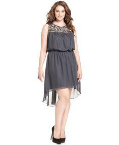 Trixxi Plus Size Dress, Sleeveless Beaded High-Low - Junior Plus Dresses - Plus Sizes - Macy's