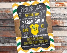 Baylor Baby Shower Invitation. Baby shower Invite. Baylor Baby. Baylor University.