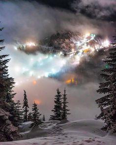 "renamonkalou: ""Ski Resort at Night Max Andersen   Stevens Pass Washington Ski Resort """