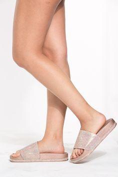 a5a6b6e359d04f Rose Gold Embellished Slide Sandals   Cicihot Sandals Shoes online store  sale Sandals