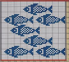 Cross Stitch Charts Ravelry: Potholder Fishes 2 pattern by Regina Schoenfeldt - Double Knitting Patterns, Fair Isle Knitting Patterns, Knitting Charts, Knitting Stitches, Free Knitting, Filet Crochet, Crochet Chart, Crochet Borders, Crochet Squares