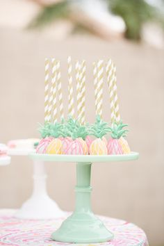 Pineapple cake pops: http://www.stylemepretty.com/living/2015/07/29/flamingo-inspired-birthday-party/ | Photography: Amy & Jordan - http://amyandjordan.com/