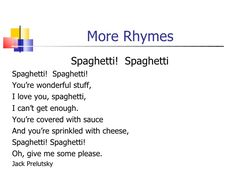 rhyme about spagehetti - Google Search
