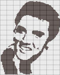 2 x Elvis Presley Funny Cross Stitch Patterns, Cross Stitch Designs, Cross Stitching, Cross Stitch Embroidery, Knitting Charts, Knitting Patterns, Cross Stitch Silhouette, Pixel Pattern, Filet Crochet