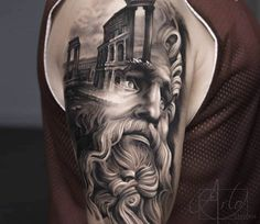 Photo - Perfect black and grey realistic tattoo style of Zeus motive done by artist Arlo DiCristina Zeus Tattoo, Arlo Tattoo, Tatoo 3d, Poseidon Tattoo, Gott Tattoos, 3d Tattoos, Large Tattoos, Body Art Tattoos, Sleeve Tattoos