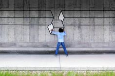 Playful And Interactive Geometric 3D Street Art Created With Neon Tape - DesignTAXI.com