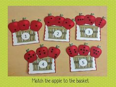 Subitizing 1-10. Apple Math and Literacy Centers for Kindergarten.