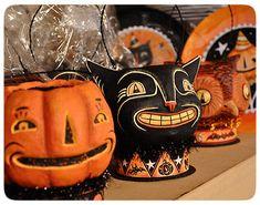 Vintage-style Halloween treat buckets.