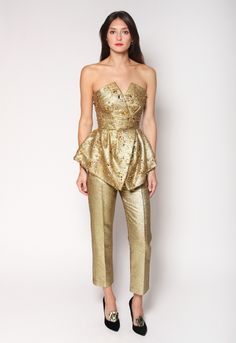 Gold Beaded Peplum Bustier / Christian Siriano