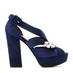 mytheresa.com - EMBELLISHED SUEDE PLATFORM SANDALS - high heel - sandals - shoes - Luxury Fashion for Women / Designer clothing, shoes, bags...