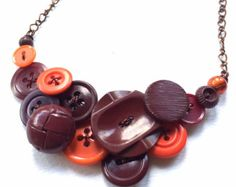 OOAK Funky Button Necklace in Gray and tan by buttonsoupjewelry