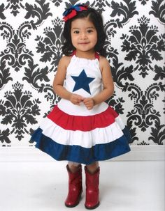 Girls - 4th of July  Red White halter dress by LilBugsClothing #red #white #blue
