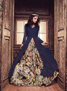 Buy Blue Banarasi Silk Lehenga With Long Choli 87332 online at best price from vast collection of Lehenga Choli and Chaniya Choli at Indianclothstore.com.