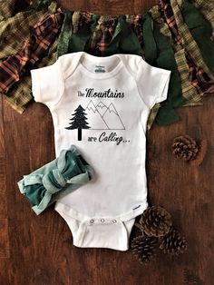Excited to share the latest addition to my #etsy shop: The Mountains are calling and I must go baby onesie, mountain baby shower clothes, hiking baby outfit, adventure baby shower decorations #babyclothesonesies