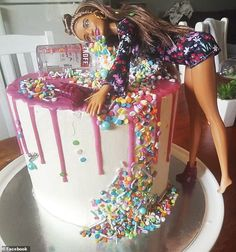 This 'messy/drunk Barbie' cake (pictured) was made by a clever Australian mum to celebrate. A creative Australian mother has revealed how she transformed three mud cakes from Woolworths into a birthday dessert to celebrate her daughter's 21st Bday Cake, 19th Birthday Cakes, 21st Birthday Cake For Girls, Barbie Birthday Cake, Funny Birthday Cakes, Birthday Desserts, Birthday Cake Decorating, Funny Cake, Drunk Barbie Cake