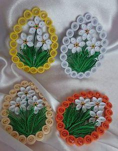 Dekorácie - Veľkonočné vajíčko - biely narcis - - My site Paper Quilling Cards, Paper Quilling Patterns, Origami And Quilling, Quilling Work, Quilling Craft, Quilling Flowers, Rose Crafts, Diy And Crafts, Quilling Tutorial