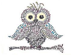 Owl word art typography calligram by Joni James