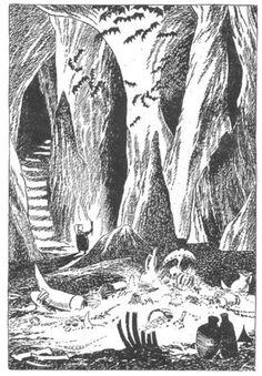 Tove Jansson's illustrations to J. Tolkien: Bilbo – en hobbits äventyr, Rabén & Sjögren, p. 239 - bilbo looking at the treasure Antique Illustration, Children's Book Illustration, Illustrations, Tove Jansson, Tolkien, Sword And Sorcery, Historical Art, Environmental Art, The Hobbit