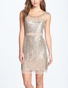 Party-ready dress dripped in sequin and beads.